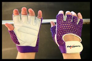 Purple and White Pro-Mesh Gloves