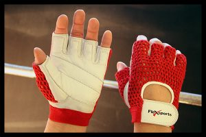 Red and White Pro-Mesh Gloves