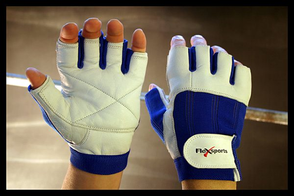 Blue and White Pro-Spandex Gloves