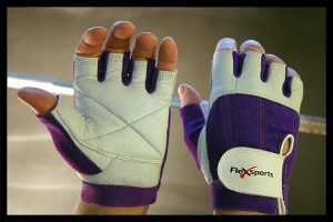 Purple and White Pro-Spandex Gloves