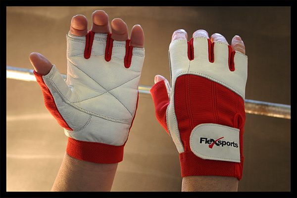 Red and White Pro-Spandex Gloves