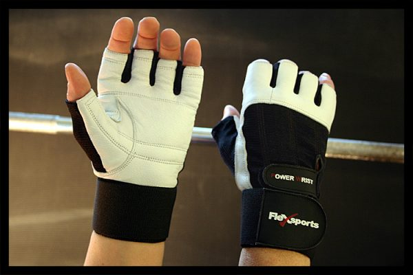 Black and White Power Wrist Wrap Gloves